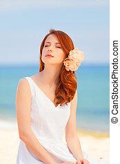 bruid, strand, jonge