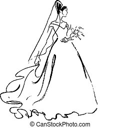 bruid, tekening