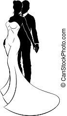 bruid, trouwfeest, bruidegom, silhouette