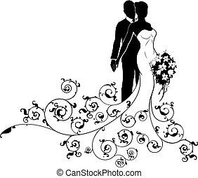 bruid, trouwfeest, concept, silhouette, bruidegom