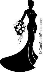 bruid, trouwfeest, silhouette, jurkje
