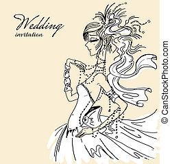 bruid, uitnodiging, trouwfeest, mooi