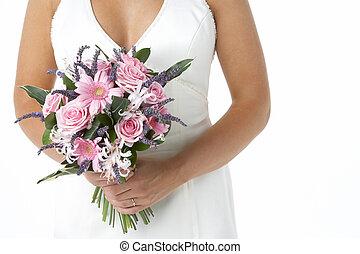 bruid, vasthouden, boeket van bloemen