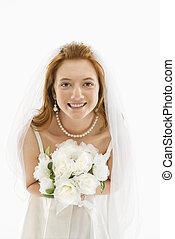 bruid, vasthouden, bouquet.