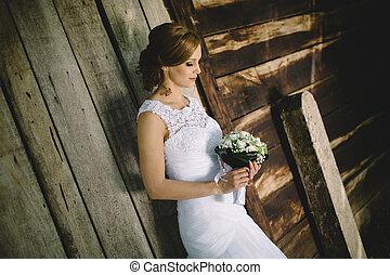 bruid, vasthouden, bouquetten, buitenshuis