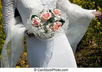 bruid, vasthouden, bouquetten
