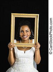 bruid, vasthouden, frame.