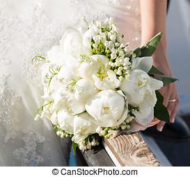 bruid, vasthouden, trouwboeket
