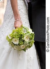 bruid, vasthouden, trouwfeest, bloemen