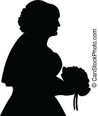 bruid, vector, silhouette