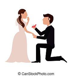 bruid, voorstel, bruidegom, trouwfeest