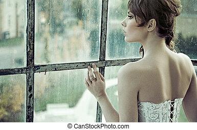 bruid, wachten, sensueel, echtgenoot, haar
