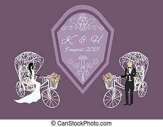 bruid, witte , bruidegom, driewieler