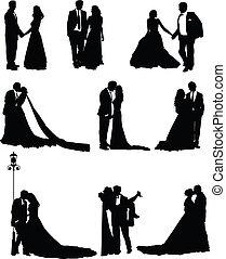bruidegom, bruid, hun, trouwfeest