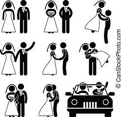 bruidegom, bruid, huwelijk, trouwfeest