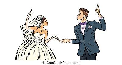 bruidegom, bruid, paar, trouwfeest
