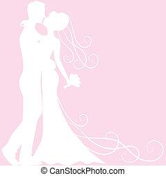 bruidegom, bruid, silhouette