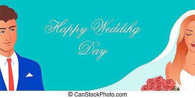 bruidegom, bruid, vrolijke , dag, trouwfeest