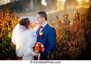bruidegom, en, bruid, herfst, trouwfeest