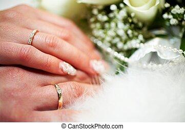 bruidegom, en, bruid