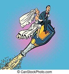 bruidegom, fles, vliegen, bruid, wedding., champagne