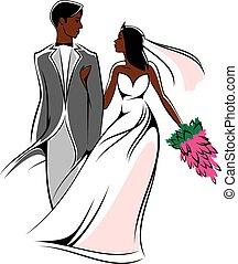 bruidegom, jonge, bruid, afrikaan, bloemen, vrolijke