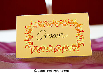 bruidegom, label, naam