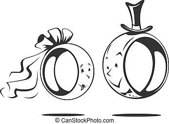 bruidegom, ring, bride., trouwfeest