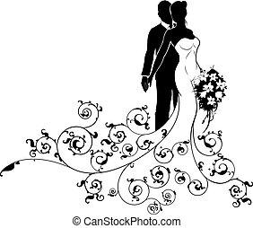 bruidegom, silhouette, trouwfeest, bruid, concept