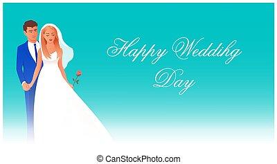 bruidegom, vrolijke , huwelijksdag, bruid