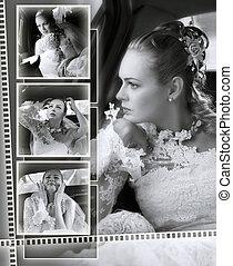 bruiden, trouwfeest, album, montage