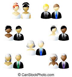 bruiloften, set, niet-traditioneel, pictogram