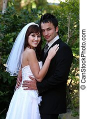 bruiloftspaar, buitenshuis