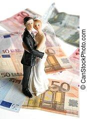 bruiloftspaar, figurine, op, euro nota's