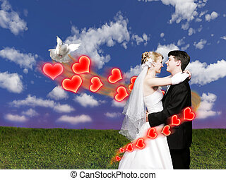 bruiloftspaar, met, duif, op, weide, collage