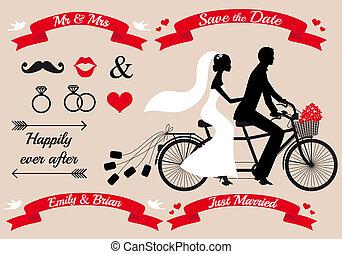 bruiloftspaar, op, tandem fiets