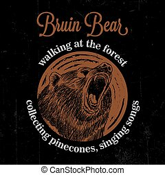 Bruin Bear Vintage Poster with animal walking at the forest...