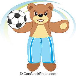 Bruin-footballer. Vector illustration