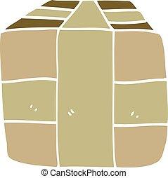 bruin pakket, doodle, papier, verpakte, spotprent