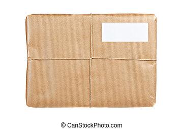 bruin pakket, met, leeg, etiket