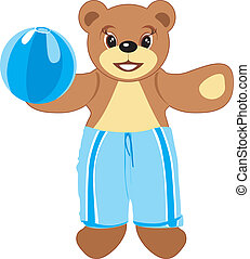 Bruin with blue ball. Vector illustration