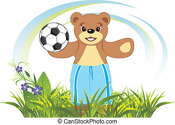 Bruin with soccer ball on the meadow. Vector illustration
