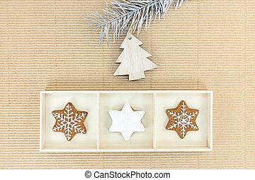 bruine achtergrond, houten, gingerbreads, papier, decoraties, kerstmis