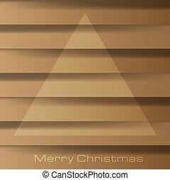 bruine achtergrond, houten, tekst, op, boompje, illustratie, kerstmis, vector, plank, vrolijk, abstract