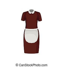 bruine , apron., staff., werkende , classieke, huishoudster, hotel, plat, maid, vector, ontwerp, witte kleding, of, uniform., kleren