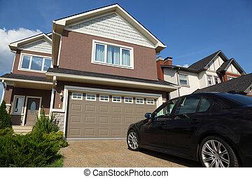 bruine , auto, two-storied, dak, garage, huisje, nieuw, witte
