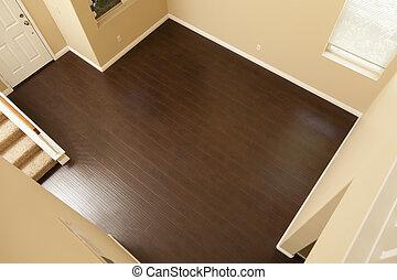 bruine , bevloering, laminaat, installed, baseboards, thuis, nieuw