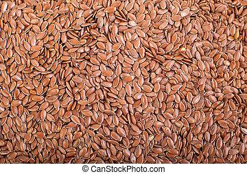 bruine , close-up, zaden, lin, vlas, linseed, zaden