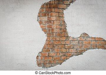 bruine , concrete muur, model, geverfde, baksteen, witte