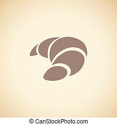 bruine , croissant, vrijstaand, illustratie, vector, beige achtergrond, pictogram